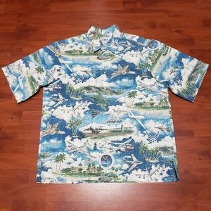 Reyn Spooner 60th Anniversary Air Force shirt sz L